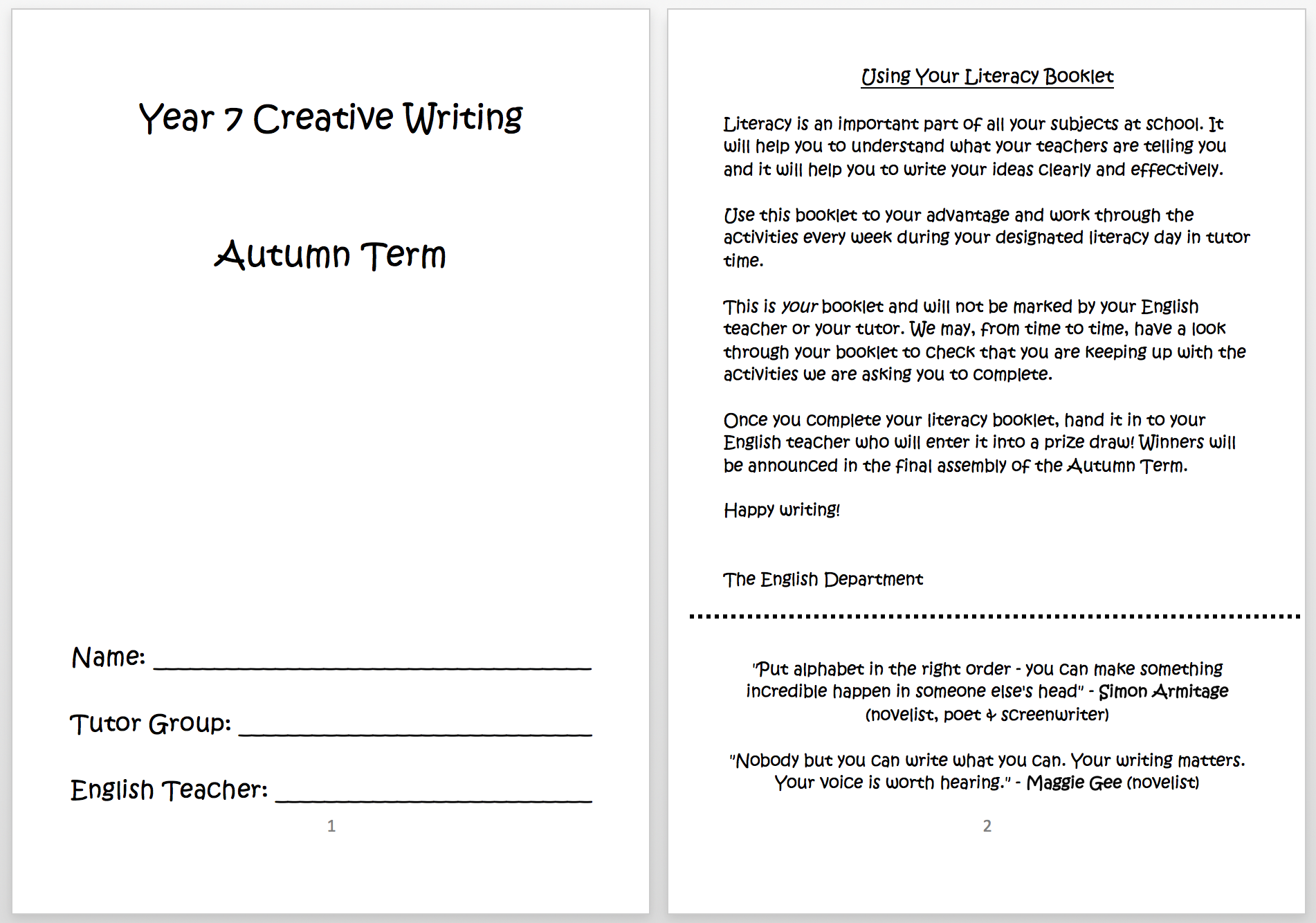 writing a booklet